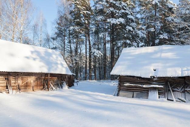 겨울 시즌에 숲에서 오래 된 목조 건물. 건물 표면과 땅에는 눈이