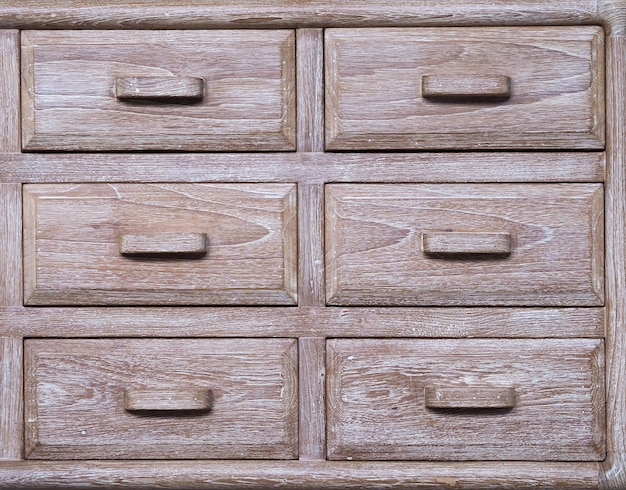 Old wooden cabinet closeup.