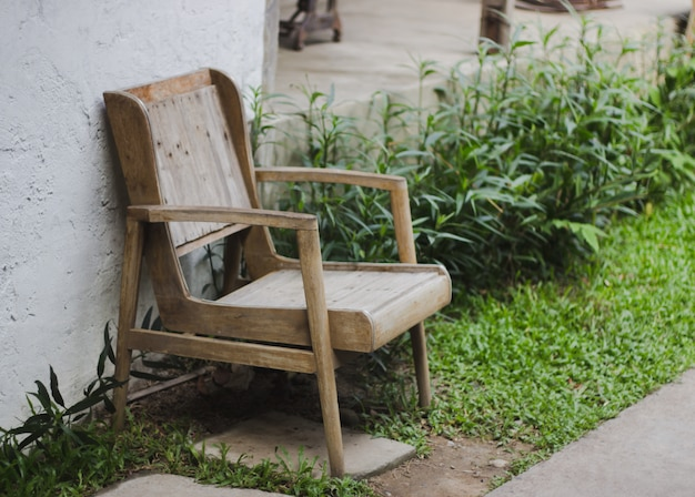 Old wooden chairs in the garden