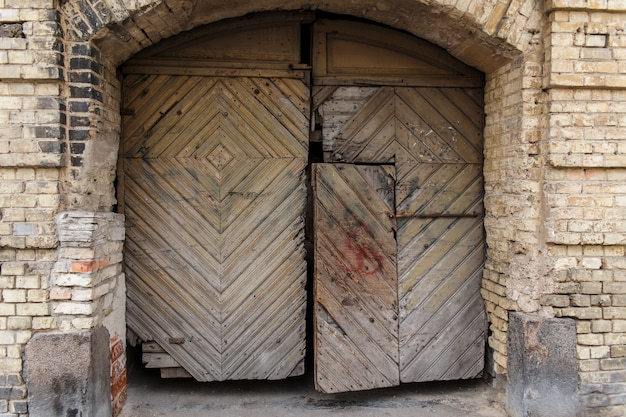 Old wooden closed shutters