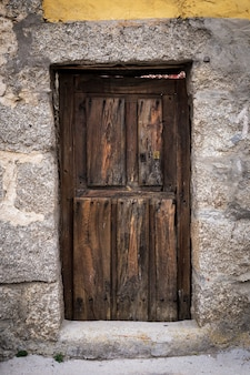 Old wooden exterior door of a house