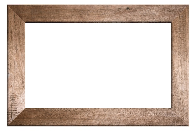 Old wooden frame on white background