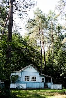森の中で古い木造住宅