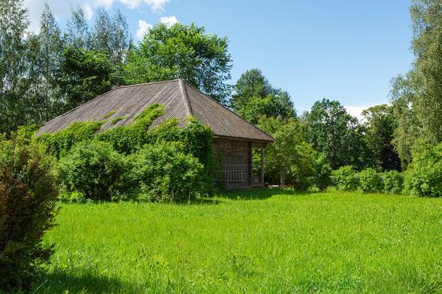 手入れの行き届いた緑の芝生の上の古い木造住宅。