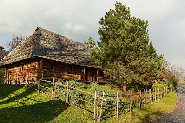 초가 지붕이 있는 오래된 목조 주택, 밀짚 지붕이 있는 고대 우크라이나 시골 별장