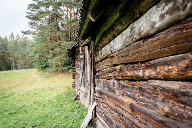 Old wooden log house near forest