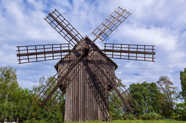 An old wooden mill. old windmill in the museum of architecture