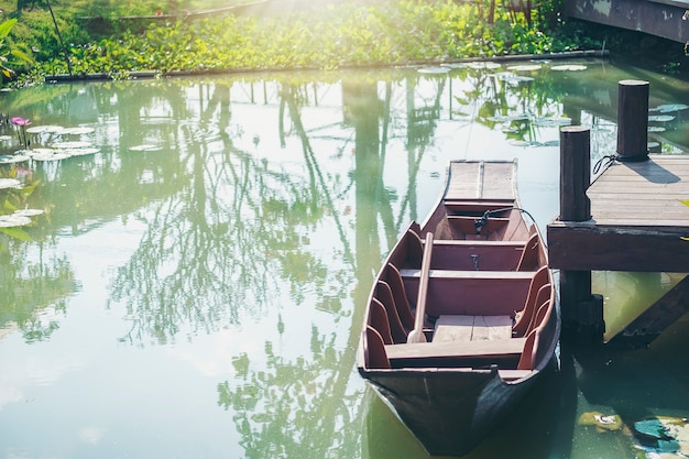 Old wooden paddle boat parked in a quiet harbor.