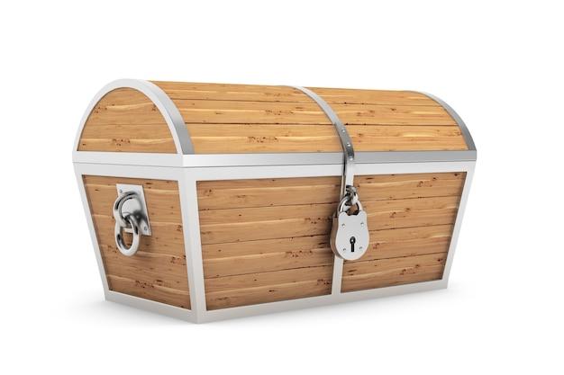 白い背景の上の古い木製の海賊の宝箱