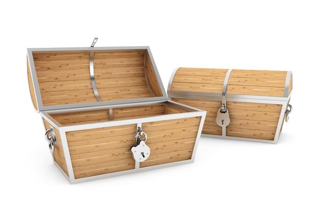 白い背景の上の古い木製海賊宝箱
