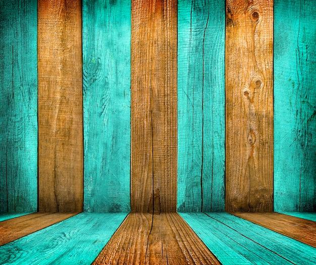 텍스트 또는 디자인에 대 한 공간을 가진 오래 된 나무 방 인테리어, 녹색 빈 배경