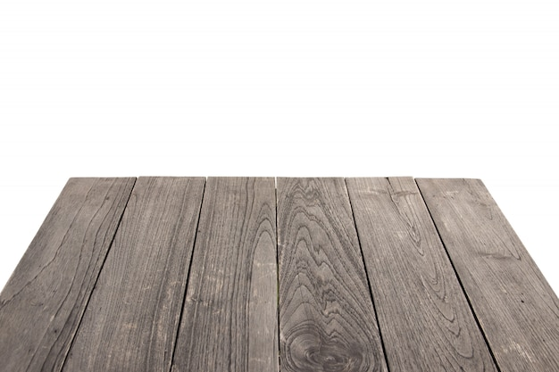 Old wooden table on white isolated background