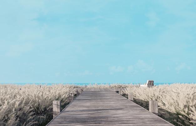 Старая деревянная терраса с голубым небом и видом на море, 3d визуализация, деревянные стулья, окруженные лугами