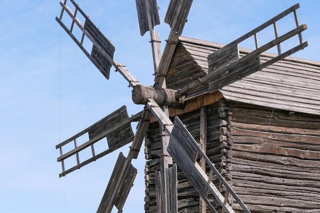 Old wooden ukrainian windmill