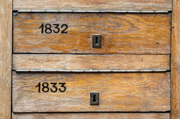 Old wooden  vintage mail boxes