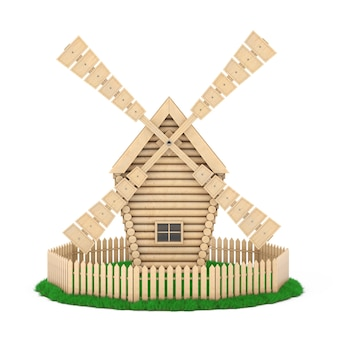 Old wooden windmill farm over piece of grass land on a white background. 3d rendering