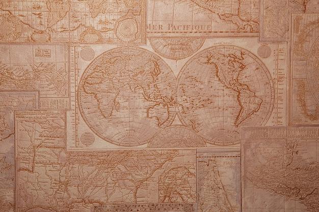 旧世界地図のビンテージパターン