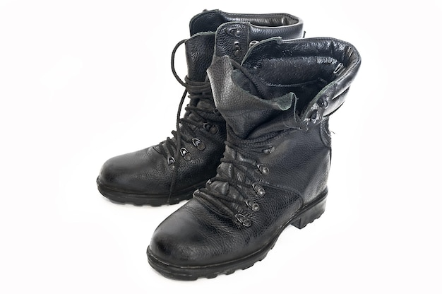 Old, worn-out boots of the russian army of the old type, used by hunters, fishermen and tourists for outdoor activities