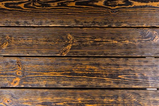 床や壁のカバー、フルフレームの板に強い木目調のパターンを持つ古い着用テクスチャウッドの背景