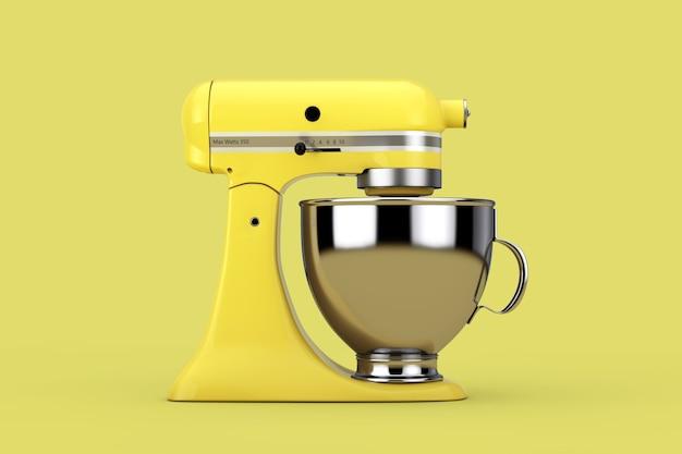 노란색 배경에 오래 된 노란색 주방 스탠드 식품 믹서입니다. 3d 렌더링
