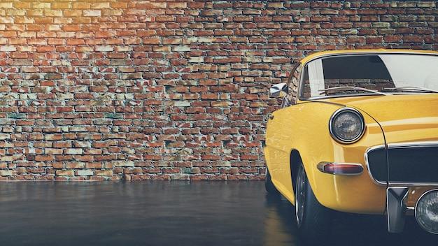 벽돌 벽 앞에 주차된 오래된 노란색 빈티지 자동차. 3d 렌더링 및 그림입니다.
