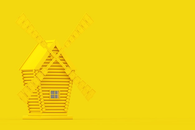 Old yellow windmill farm in duotone style on a yellow background. 3d rendering