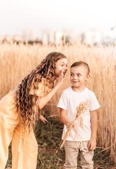 姉は夏に自然の中で兄と一緒に歩きます。歩いたり遊んだりする幸せな子供たちの兄弟。子供たちは屋外で遊ぶ