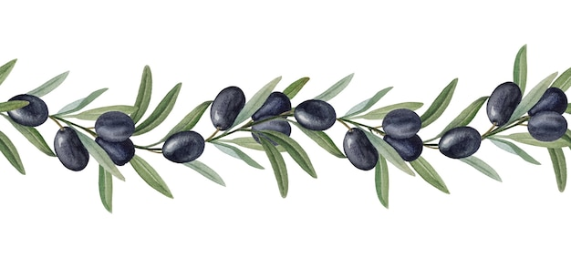 Olive branches with black olives watercolor ornament.