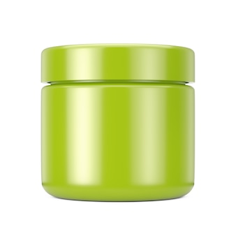 Olive cosmetic jar with lid for cream or gel mockup on a white background. 3d rendering