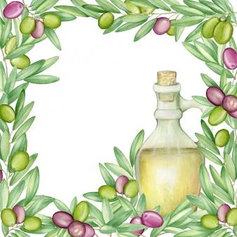 オリーブのフレーム。オリーブの枝とイタリア料理のフルーツ。水彩。