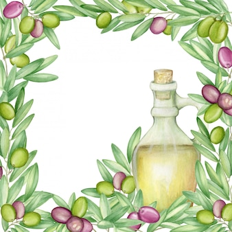 Olive frame. with olive branches and fruits for italian cuisine.  watercolor.