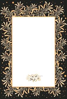Olive golden watercolor frame