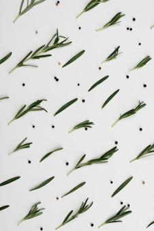 Olive leaves spread on table