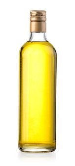 Olive oil bottle on white