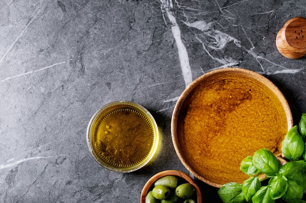 Olive oil in ceramic bowl
