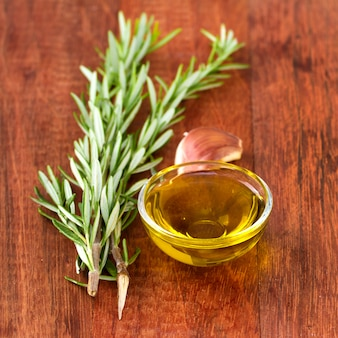 Olive oil with garlic and rosemary