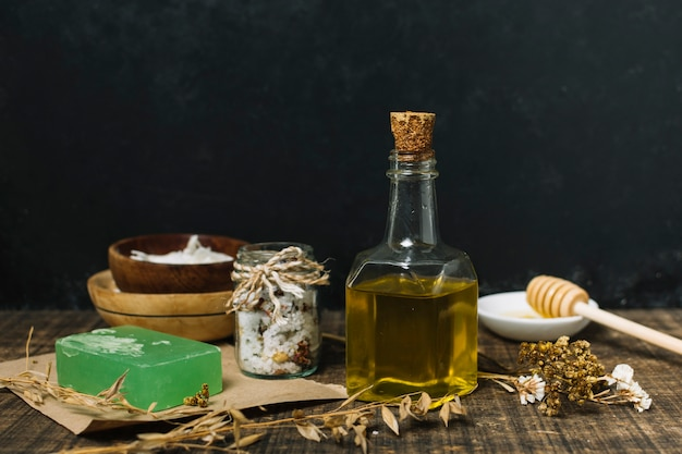 Olive oil with soap bar and other ingredients