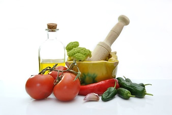 Olive oil with tomatoes, garlic and other ingredients