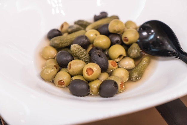 Olive pickle on plate