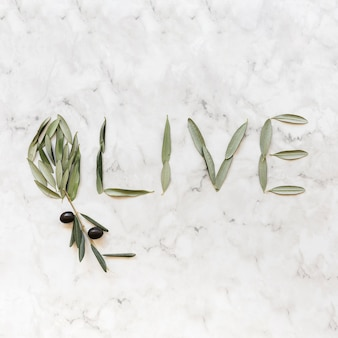 Olive word made with olive leaves on marble backdrop