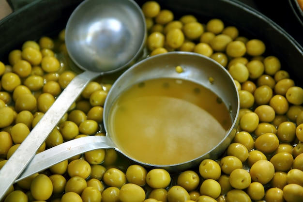 Olives in pickling brine