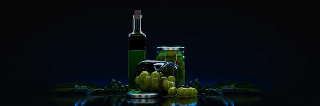Оливки с листьями на черном фоне 3d рендеринг