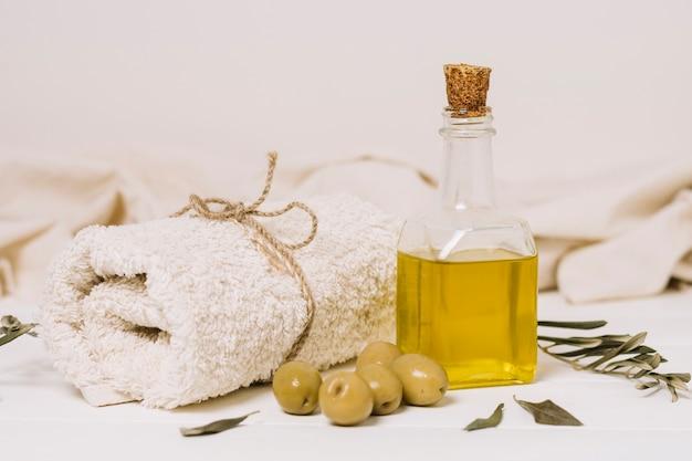 Olives with olive oil set