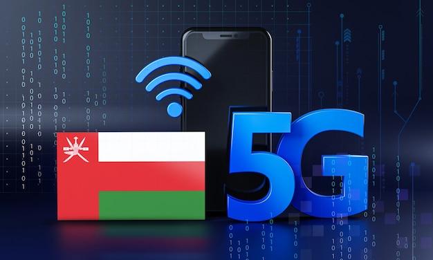 Оман готов к концепции подключения 5g. 3d визуализация смартфон технологии фона