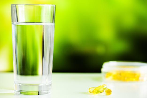 Omega 3 fish oil yellow soft gel capsules