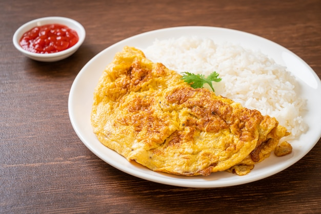 Omelet or omelette with rice