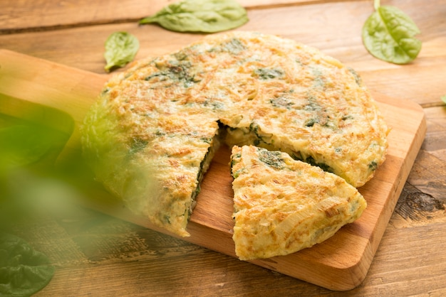 Omelette  of spinach and cheese and leek (3d effect)