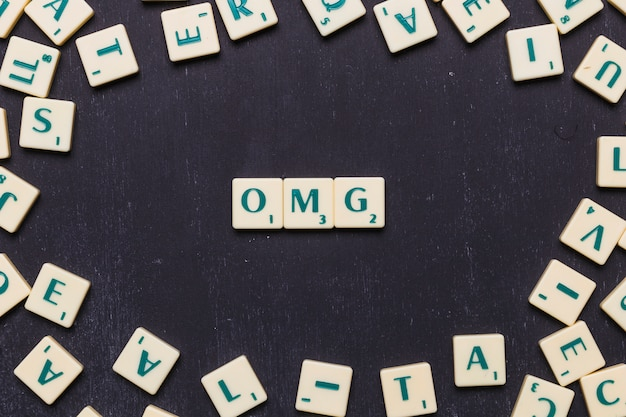 Omg text made from scrabble game letters
