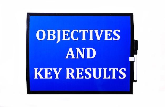 На синей поверхности белая надпись задачи и ключевые результаты.