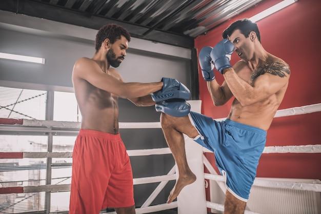На боксерском ринге. кикбоксеры борются на боксерском ринге и выглядят вовлеченными